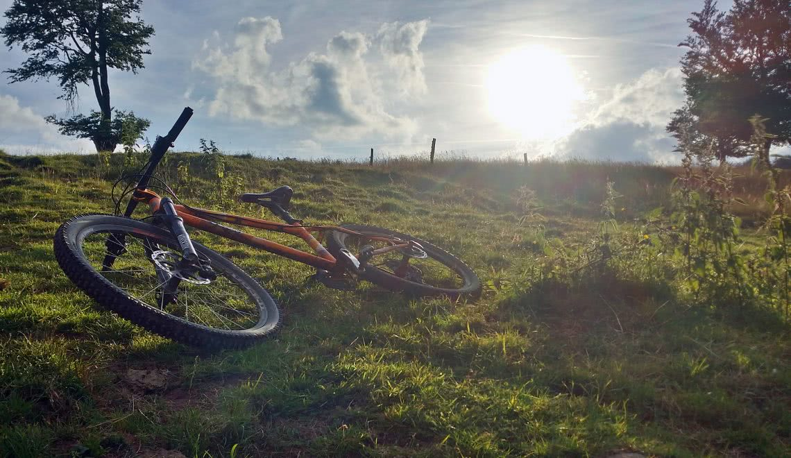 Zur Pause abgelegtes Mountainbike auf einer Wiese in Winden im Elztal