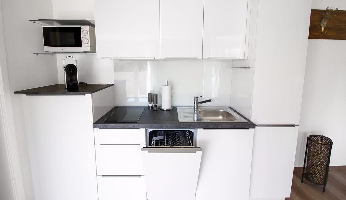 Hochglanz Küche mit Spühlmaschiene im Apartement Nussbaum der Pension am Rain