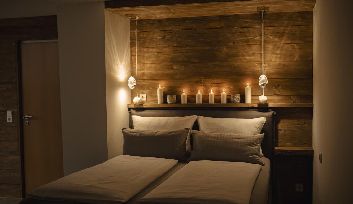 Bett bei Nacht Apartment Sonnenterrasse - Pension am Rain